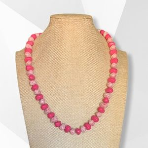 Vintage Chunky Pink Beaded Necklace